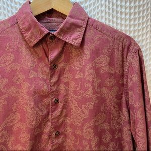 Maroon and Gold Paisley Button Down